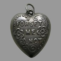 Vintage Forget-Me-Not Sterling Heart Charm