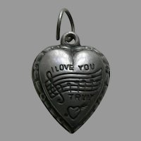 "Vintage ""I Love You Truly"" Sterling Heart Charm"