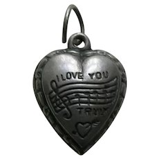 """Vintage """"I Love You Truly"""" Sterling Heart Charm"""