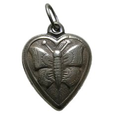 """Vintage Butterfly """"Clara Lou"""" Sterling Heart Charm"""
