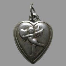 "Vintage Cherub Holding a Heart ""Natalee"" Sterling Heart Charm"
