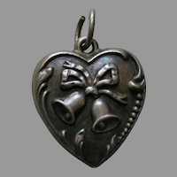 "Vintage Wedding Bells ""Lois"" Sterling Heart Charm"