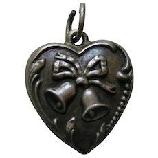 "Vintage Wedding Bells ""Lois"" Sterling Heart Charm"