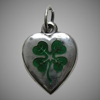 Antique Enameled Shamrock Sterling Heart Charm