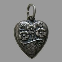 Vintage Flower Basket Sterling Heart Charm