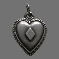 "Antique Ace of Diamonds """"A.M.S."" Sterling Heart Charm"