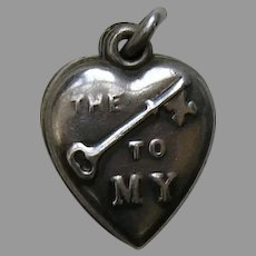 "Vintage Rebus Key to My Heart ""Cooper ' 41"" Slider Sterling Heart Charm"