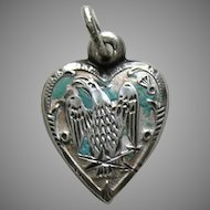 "Victorian Eagle ""Tina"" Sterling Heart Charm"