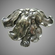 Unger Lady and Flower Petal Large Sterling Brooch
