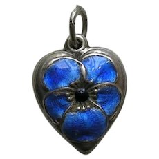 Vintage Blue Enamel Pansy Sterling Heart Charm