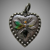 "Antique Enameled Wasp ""Lela"" Sterling Heart Charm"