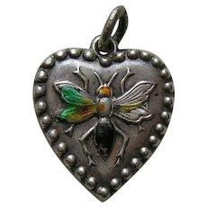 "Antique Enameled Wasp ""Lela"" Sterling Heart Charm"