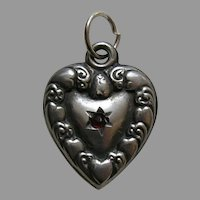 "Antique Heart Border Garnet Paste ""Flora"" Sterling Heart Charm"