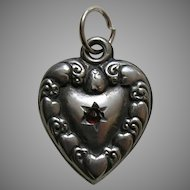 "Antique Heart Border Garnet Paste ""Flora"" Sterling Heart Charm"