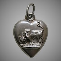 "Antique Buffalo ""MLL"" Sterling Heart Charm"