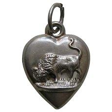 "Antique Buffalo ""MLL"" Sterling Heart Charm"