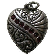 "Vintage Garnet Paste Swirl Double Sided ""Ruth"" Sterling Heart Charm"