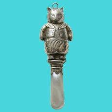 Vintage English Beatrix Potter Tom Kitten Sterling Rattle/Teether
