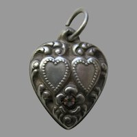 Vintage Amethyst Paste Double Heart Sterling Heart Charm