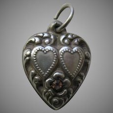 Vintage Amethyst Paste Double Heart Sterling Heart Charm
