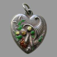 "Vintage Enameled Cornucopia ""Mother"" Large Sterling Heart Charm"