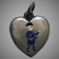 Antique Enameled Palmer Cox Brownie Policeman Sterling Heart Charm
