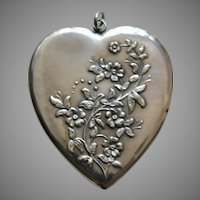 Antique Forget-Me-Not Large Sterling Heart Locket