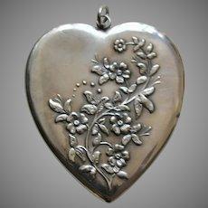 Antique Forget-Me-Not Large Sterling Heart Locket