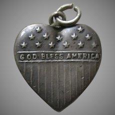Vintage Large God Bless America Sterling Heart Charm