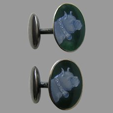 Antique Charles Thomae Enameled Boxer Dog Sterling Cufflinks