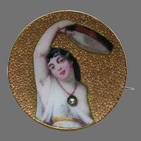 Art Nouveau Lady and Tambourine Diamond 14k Brooch