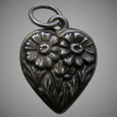 Vintage Flower of the Month September Aster Sterling Heart Charm