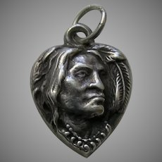 Antique Native American Sterling Heart Charm