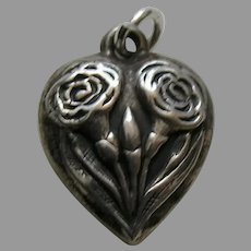 Vintage Flower of the Month January Carnation Sterling Heart Charm