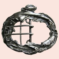 Antique Kerr Mermaid and Lobster Large Sterling Buckle