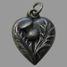 "Antique Thistle ""Mamma"" Sterling Heart Charm"