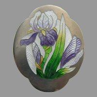 Art Nouveau Enameled Lavender Iris Sterling Brooch