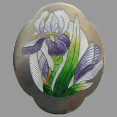 Art Nouveau Enameled Lavender Iris Sterling Brooch