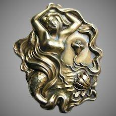 Art Nouveau Mermaid Large Sterling Brooch