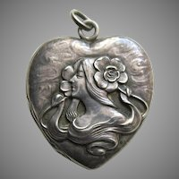 """Unger Art Nouveau Lady and Flowers """"EEW"""" Sterling Heart Locket"""