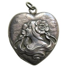 "Unger Art Nouveau Lady and Flowers ""EEW"" Sterling Heart Locket"