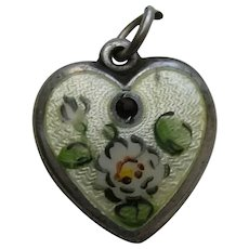 """Walter Lampl Enameled Water Lily Flower Ruby Flower of the Month July """"John"""" Sterling Heart Charm"""