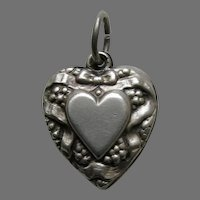 Vintage Double Sided Heart Bow and Berries Sterling Heart Charm