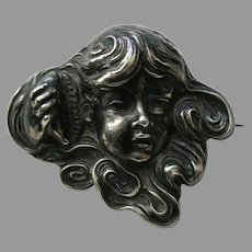 Unger Young Girl and Seashell Sterling Brooch