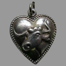 Vintage Longhorn Steer Sterling Heart Charm