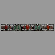Art Deco Egyptian Revival Plique Carnelian Marcasite Sterling Bracelet