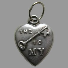 Antique Rebus The Key To My Heart Sterling Heart Charm