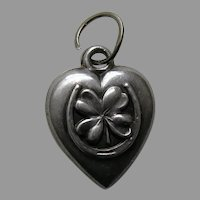 "Antique Shamrock Horseshoe ""Sister"" Sterling Heart Charm"