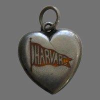 """Antique Enameled Harvard Pennant """"E.M.G."""" Sterling Heart Charm"""
