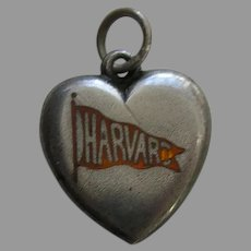 "Antique Enameled Harvard Pennant ""E.M.G."" Sterling Heart Charm"